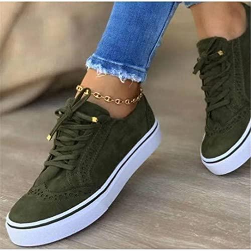 Mikowoo Women's Low Cut Canvas Sneakers Walking Running Shoes Flat Summer Fall Sneakers,Verde,40