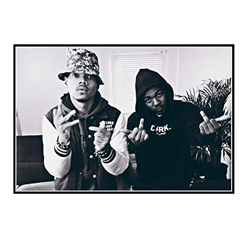 dubdubd Chance The Rapper Kendrick Lamar Hip Black and White Art Posters Painting Print Living Room Home Decoration -24X32 Inch No Frame 1 Pcs