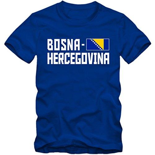 Herren T-Shirt Team Bosna Hercegovina Fußball Basketball XS-4XL DTG, Farbe:blau;Größe:M