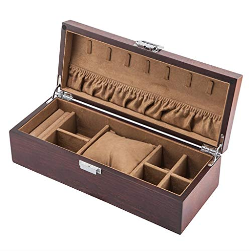 FCSFSF Watch Box Jewelry Storage Wooden Watch Box with Lock Soft Cushions Pillow Wrist for Men or Women Wristwatches Jewellery Bracelet Collections Display Storage Case Holders Gifts,Brown
