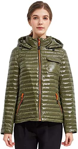 Orolay Women s Light Down Jacket Sports Winter Coat Hooded Cropped Puffer Jacket Winter Moss product image