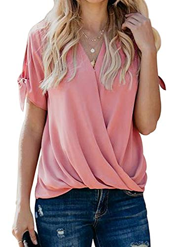 HOTAPEI Womens Blouses and Tops for Work Fashion 2020 Casual Summer Tie Short Sleeve Wrap V Neck Chiffon Blouses for Women Loose Fit Tops Shirts