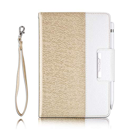 Thankscase Case for iPad Mini 5 7.9' / iPad Mini 4, Rotating Case Cover with Apple Pencil Holder, Swivel Case Build-in Auto Wake/Sleep, Hand Strap, Wallet Pocket for iPad Mini 5th Gen 2019 (Gold)