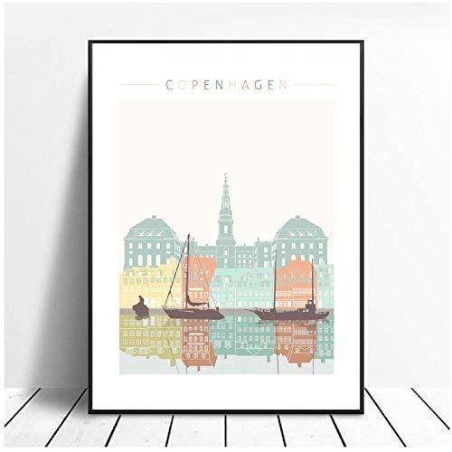 Mulmf Copenhagen Skyline canvas print muur kunst poster foto moderne minimalistische slaapkamer woonkamer decoratie - 50X70Cm/unframed