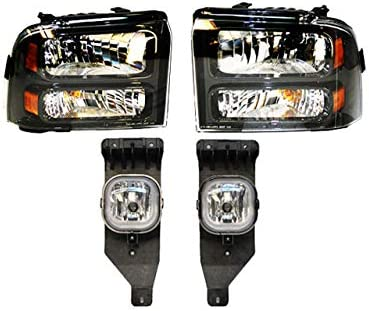 BUNDLE FOG Excellence LIGHT HEADLIGHT Import WITH BLACK F350 4PCS HOUSING For F250