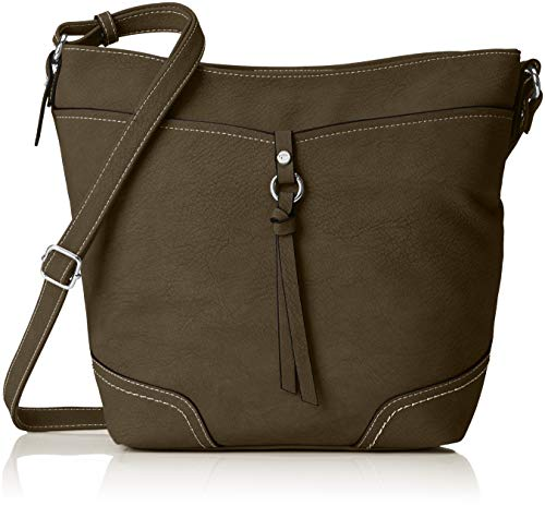 TOM TAILOR Umhängetasche Damen Imeri, Grün (Khaki), 12x28x34 cm, Damen Handtasche