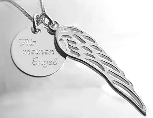Halskette mit zwei Anhängern, Silber - Platte mit Gravur & Engelsflügel, 925 Sterlingsilber, Wunschgravur