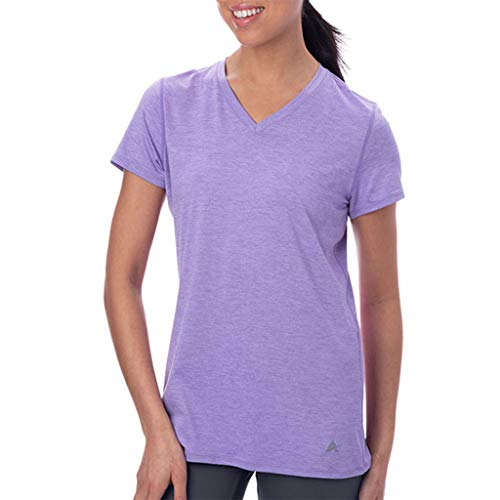 Arctic Cool Women's V-Neck Instant Cooling Moisture Wicking Performance UPF 50+ Short Sleeve Shirt | Lightweight Breathable Top for Running, Workout, Exercise, Yoga, Fishing, Lavender Twist, XXL
