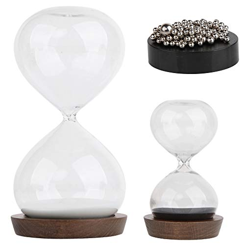 Sand Hourglass Timer Hour Glass– with Magnetic Balls Desk Toy Sculpture – 30 min and 5 Minute...