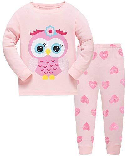 Mädchen Schlafanzug Langarm Herbst Winter Kinder Schlafanzug Nachtwäsche Sets 92 98 104 110 116 122 (110 /HerstellerGröße: 120, Eule)