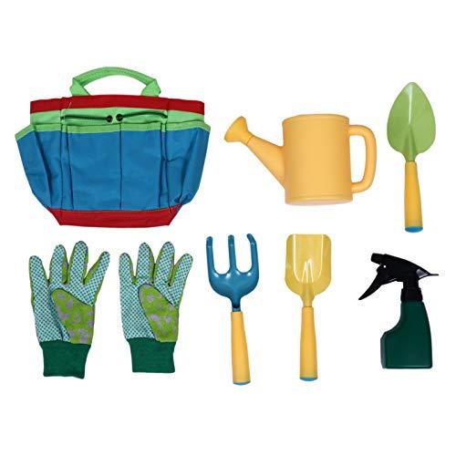 YARNOW - Conjunto de juguetes de playa para niños, cubo de playa, regadera y rastrillo, guantes de jardinería, estuche de herramientas para exterior con bolsa de transporte para niñas y niños