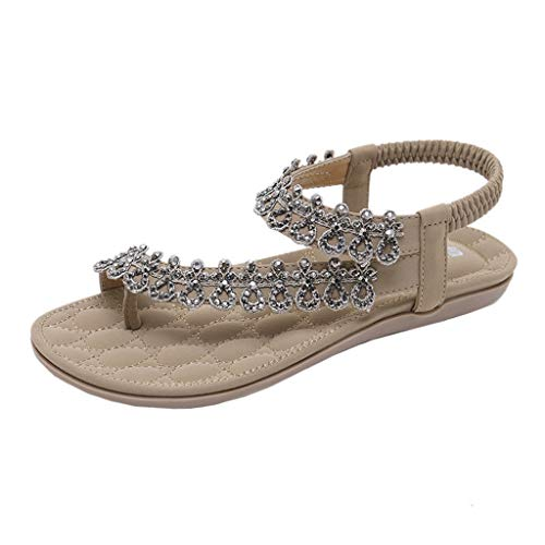 SANFASHION Sandalen Damen Sommer Elegant Böhmen Blumen-Perlen Flip-Flop Schuhe Flache Sandalen Schuhe Mode Strandschuhe Zehentrenner Pantoletten Riemchensandalen