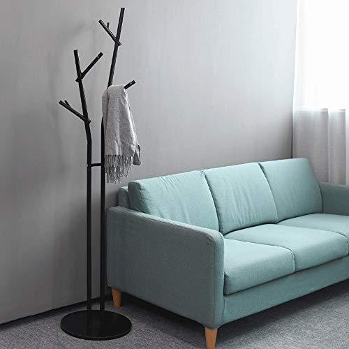 Bixialan Coat Rack Entryway Furniture Free Standing Metal Coat Rack Stand Entryway Hall Tree Coat Tree For Hat Clothes Purse Scarves Handbags Umbrella Coat Hanger (Color : Black, Size : 40×40×180cm)