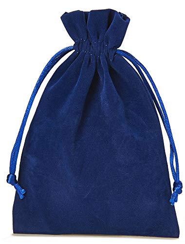12 bolsitas de terciopelo con cordón para cerrar, tamaño 10x7,5 cm, bolsa para regalos de navidad, cumpleaños, joyas y otros detalles hechos a mano (azul)
