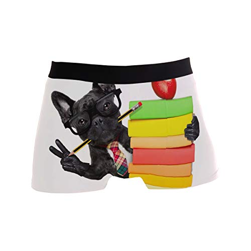 PNGLLD Men Boxer Briefs Funny Black Dog French Bulldog Underwear for Boy Youth Mens Polyester Spandex Breathable
