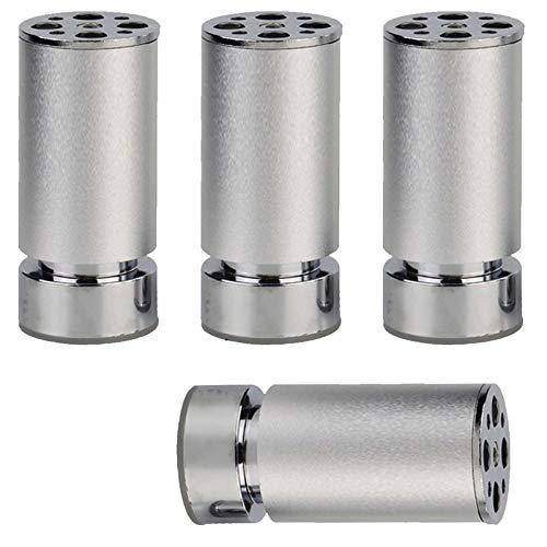 4 Piezas Patas de Muebles de Aleación de Aluminio,Pies de Muebles Ajustables en Altura,Patas de Armario de TV de Metal,Pies de Cocina Con Almohadilla Antideslizante(Silver10cm)