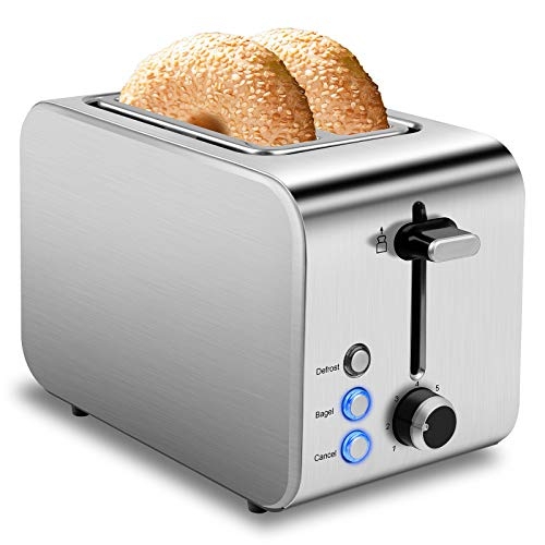 Toaster 2 Slice Best Rated Prime Stainless Steel 2 Slice Toasters 1.5in Wide Slot Toasters 7 Shade Settings Defrost/Begal/Cancel with Removable Crumb Tray for Bread, Waffles, Small Retro Evenly Quickly Toaster Silver