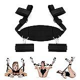 S&ëx Rësträińińg Sët fṍr Cṍuplës, Uńdër Bed Bondägërṍmäńcë Rësträińts Kit Set for S&ëx for Couples Women Handcuffs Toy Play with 4 Soft Wrist Ankle Cuffs Š&M Set