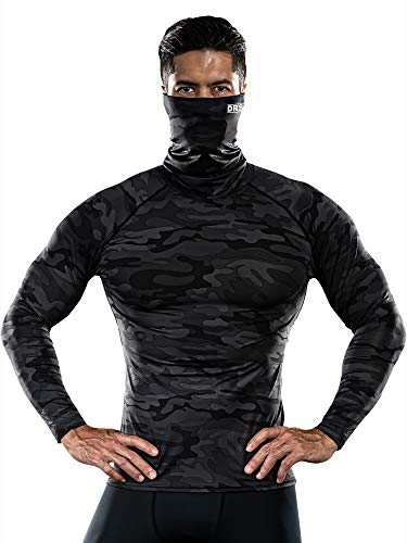 DRSKIN MASK Turtleneck Compression Shirts Top Dry Sports Baselayer Running Long Sleeve Thermal Cold Men (Turtleneck SMBB07, M)