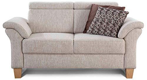 Cavadore 2-Sitzer Sofa Ammerland / Couch mit Federkern im Landhausstil / Inkl. verstellbaren Kopfstützen / 156 x 84 x 93 / Strukturstoff weiß-beige