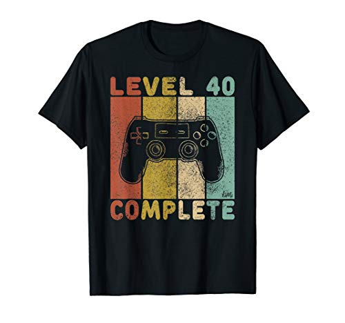 Herren 40. Geburtstag Männer Shirt Gamer TShirt Level 40 Complete T-Shirt