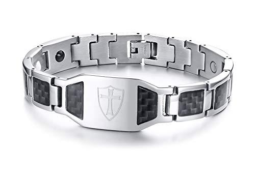 VNOX Edelstahl Kohlefaser Tempelritter Kreuz Schild 4 in 1 Magnetfeldtherapie Heilung Armband für Männer,Werkzeug Einstellen