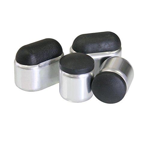 greemotion Fußkappen Manila silber/schwarz 8-teilig, passend zu Stapelstühlen Manila, Ersatzkappen aus hochwertigem Kunststoff und Aluminium, gegen Verrutschen und Verkratzen