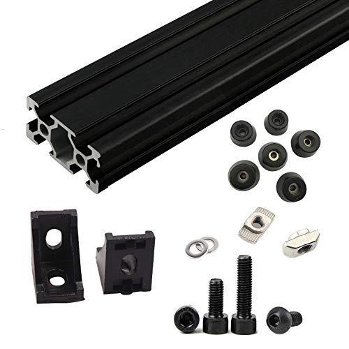 Kostenloser DHL Versand, 1Set Schwarz AM83D Drucker Aluminium Extrusion Metall Rahmen Full Set mit Muttern Schraube Halterung Ecke für Anet A8–144