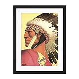 Painting Santa Fe Villa Native American Chief Decoración de la pared grande del cartel del estampado de arte 18x24 pulgadas suministrada lista para colgar con los soportes de montaje incluidos