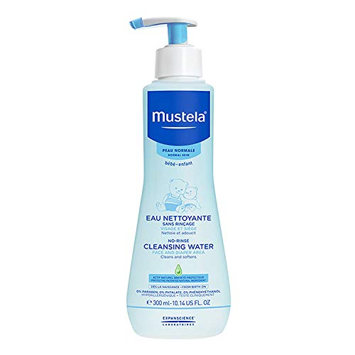 Mustela Baby Cleansing Water - No-Rinse Micellar Water with Natural Avocado & Aloe Vera - For Baby's Face, Body & Diaper - 10.14 fl. oz.
