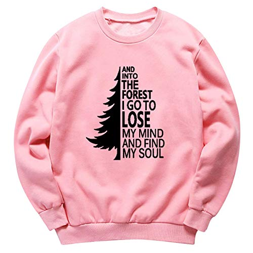 Moda Sudaderas Jersey Sweater Sudadera con Capucha De Terciopelo Grueso con Estampado De Cuello Redondo Y Manga Larga Más Sudadera Suelta XXL Rosa