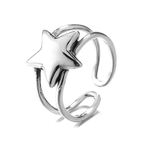 XIXIAO 925 Anillo De Plata Esterlina Plata Tailandesa Apenada Estrella De Cinco Puntas Anillo Doble Anillo Hueco Viento Frío Creativo Dedo Joyería Anillo De Estrella