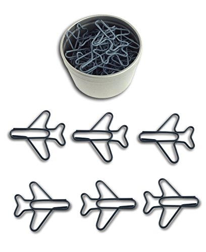 Butler in the Home Airplane Shaped Paper Clips 35 Count in Silver Tin and Silver Gift Box Great for Paper Clip Collectors or Plane and Pilot Lovers (Cool Gray)