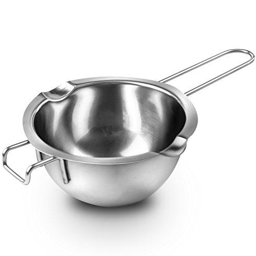 Super Double Boiler Pots Insert Pan,18/8 Stainless Steel, 2 Cups Capacity, 2 Pour Spouts,Chocolate Melting Pots