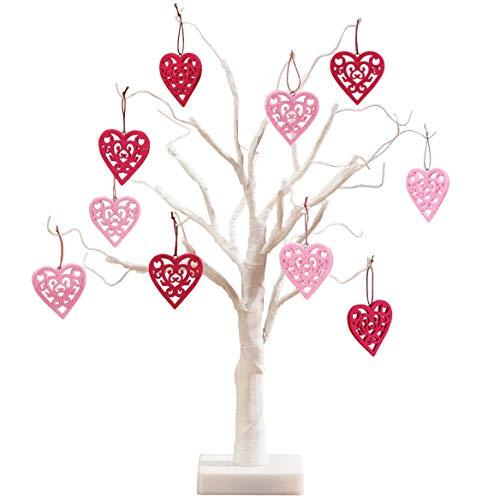 Fox Valley Traders Pre-Lit White Wire 18' Tabletop Tree with Set of 10 Valentine's Day Hanging Heart Ornaments