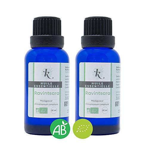 KLARCHA - Duo XL Ravintsara - Huile Essentielle Ravintsara HEBBD - 100% Pure et Naturelle - Issue de l'Agriculture Biologique - Labellisée ECOCERT - Sans OGM - 2 x 30 ml - Fabriquée en France