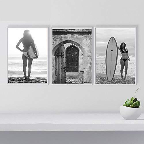 Tabla de surf para niñas, figura de arte de pared, pintura en lienzo, carteles e impresiones en blanco y negro, cuadros de pared de puerta marroquí para sala de estar, 40x60cmx3 sin marco