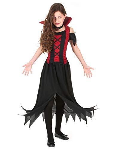 DEGUISE TOI Déguisement Vampire Rouge Fille Halloween - Noir - L 10-12 Ans (130-140 cm)