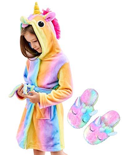 Unicorn Hooded Bathrobe and Matching Slippers