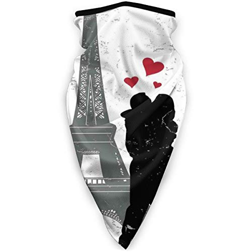 Sports Windbreak Mask Silhouette of a Kissing Couple and Hearts avec tour Eiffel Icon Grunge Effect pour homme et femme, Headband, Kerchief