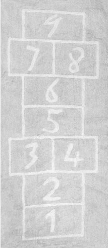 Aratextil Pata Coja Alfombra Infantil, Algodón, Gris, 90x200 cm