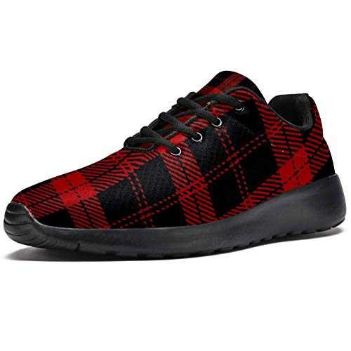 TIZORAX Zapatillas de correr para hombre, color negro y rojo, a cuadro