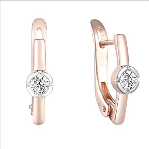 BAJIE Pendiente 2 Colores para Mujer, Color Oro Rosa 585 / con Pendientes de Gota de Palo Inteligente de Piedra Cz Redonda de Color Oro Blanco
