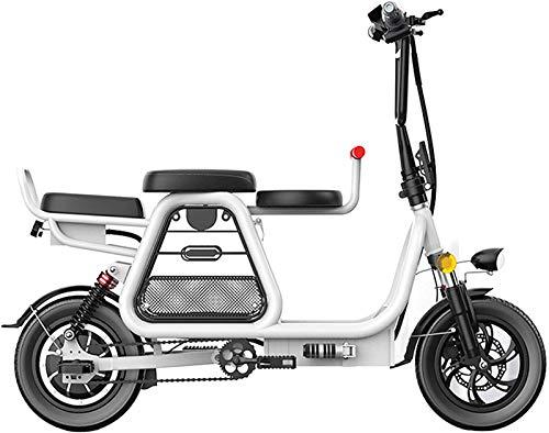 Bicicleta de montaña eléctrica, 350W Bicicleta eléctrica plegable 12 'Bicicletas eléctricas para adultos 48V 8Ah Batería de litio de litio Montaña Scooter eléctrico con cesta de almacenamiento y asien