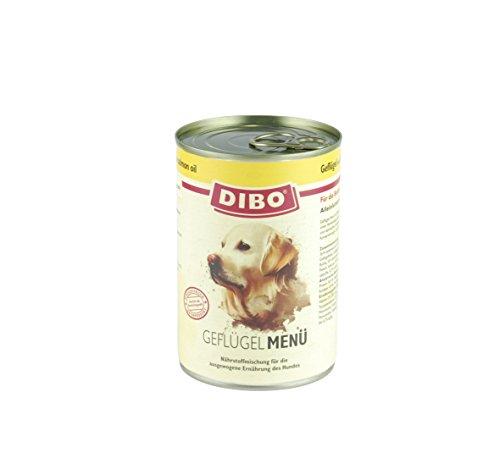 DIBO Menü Geflügel, 400g-Dose, Hundefutter, Nassfutterohne Konservierungsstoffe, reine Fleischdosen aus frischem und natürlichem Fleisch! DIBO-Qualität