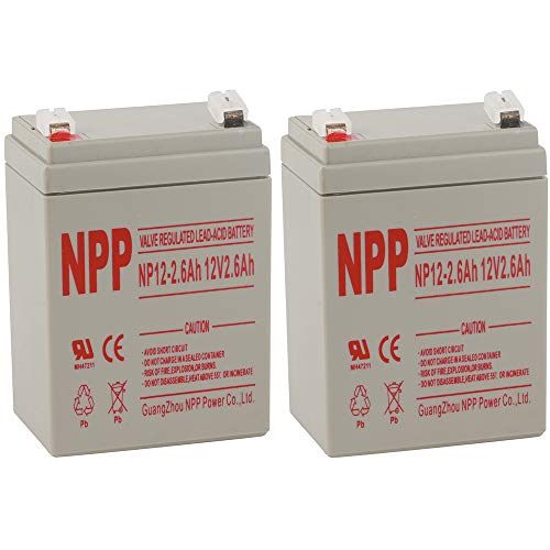 NPPower NP12-2.6Ah 12V 2.6Ah 12Volt 2.6amp Valve Regulated Sealed Lead Acid Rechargeable Battery (2pc)