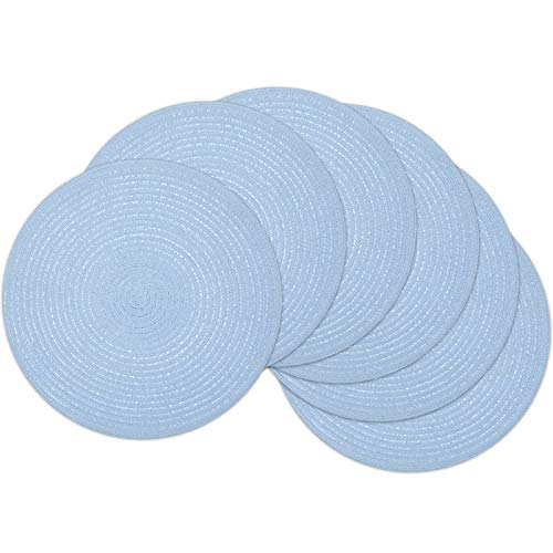 SHACOS Blue Round Placemats Set of 6 Braided Woven Table Mats Washable Heat-Resistant 38cm Place Mat for Dining Tables