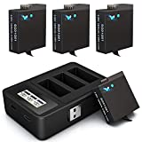 Batteries (2 Pack) 1800mAh Replacement for Gopro Hero 8/7/6/5 Battery and Digital Monitor for Gopro Hero 8 Black, Hero 7 Black, Hero 6 Black, Hero 5 Black(Fully Compatible with Original)