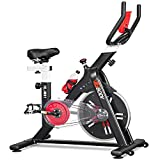 VIGBODY Exercise Stationary Bike Workout Bike Cardio Cycling Indoor Home Gym Office,Upright Belt Drive With LCD Monitor&Comfortable Seat Cushion