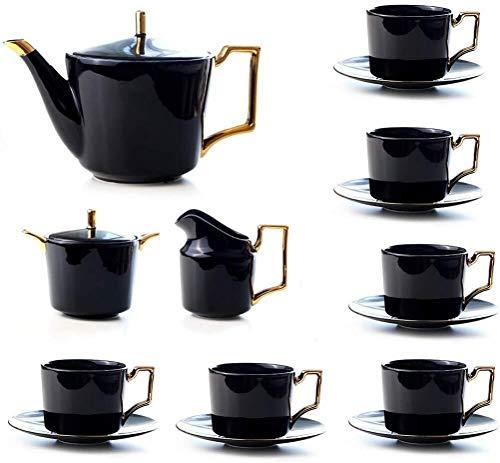 CJ Theesets Koffie Theeset, Negen Sets Zwarte Thee Thee Set Keramische Thuis Koffie Thee Afternoon Thee Theepotje, Inhoud: 1150ml, voor Afternoon Tea Garden Office